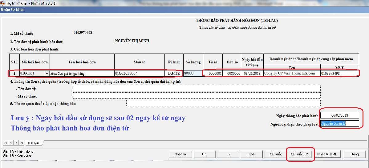 Thông báo phát hành hóa đơn trên HTTK