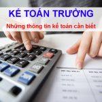 Kế toán trưởng - Những vấn đề kế toán cần biết