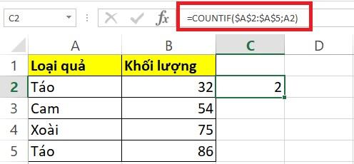 Sử dụng hàm Countif